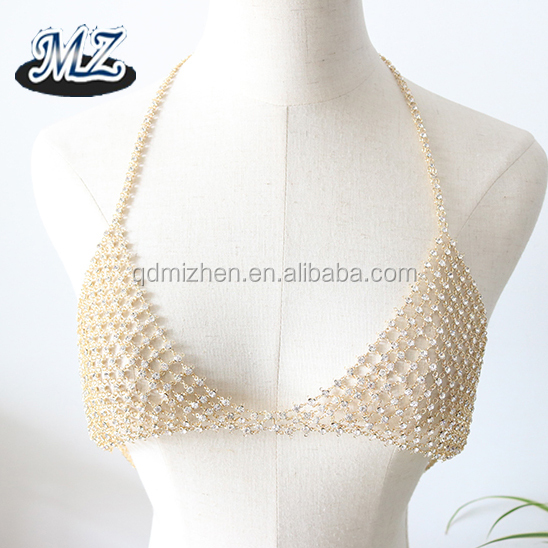 2017 latest new rhinestone bikini crystal bra body chain jewelry for women