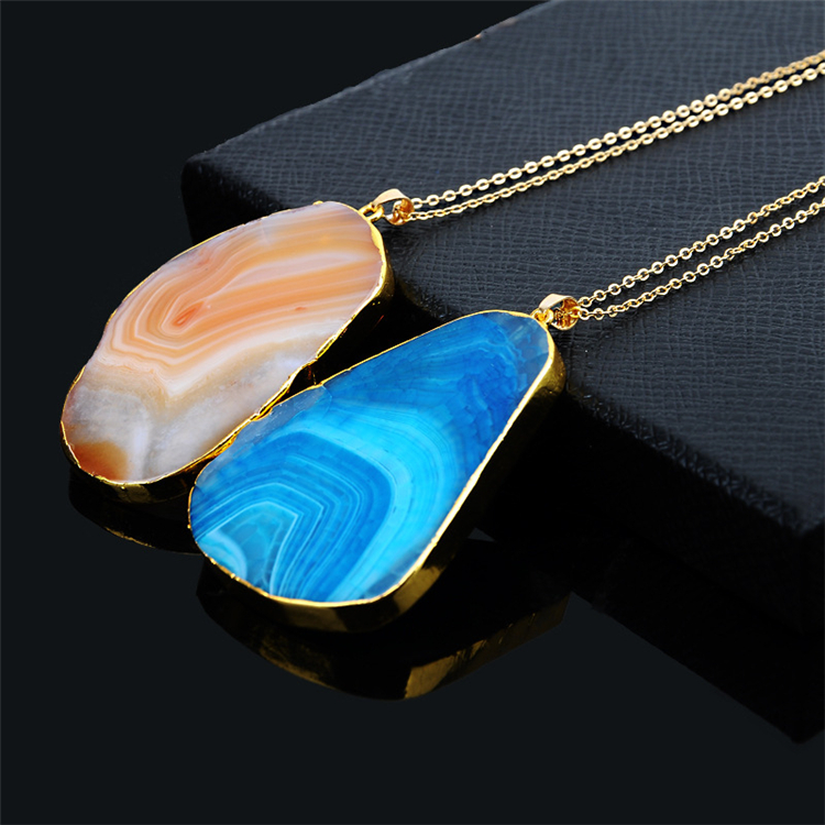 Romantic Trendy Gold Plated Chain Natural Stone Pendant Irregular Quartz Stone Necklace