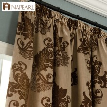 NAPEARL Keqiao supplier classical style luxury jacquard fabric hook style semi-blcakout curtain for window blind room decoration