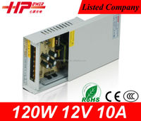 manufacturer CE RoHS constant voltage rainproof 120w 10a single output ac dc switching 12v led atm machine power supply