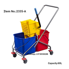 HQ2335-A galvanized 60L capacity double mop bucket trolley with yellow wringer
