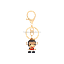 Chinese supplier hard enamel keychain,cute monkey metal keychain souvenir
