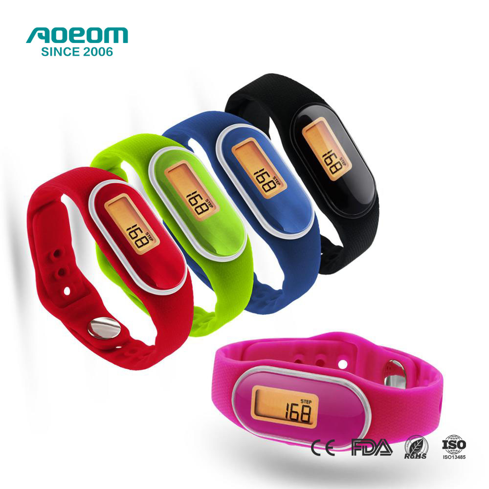 AOEOM New Arrival Sport Pedometer Fitness Tracker Bracelet Wristband Pedometer Watch