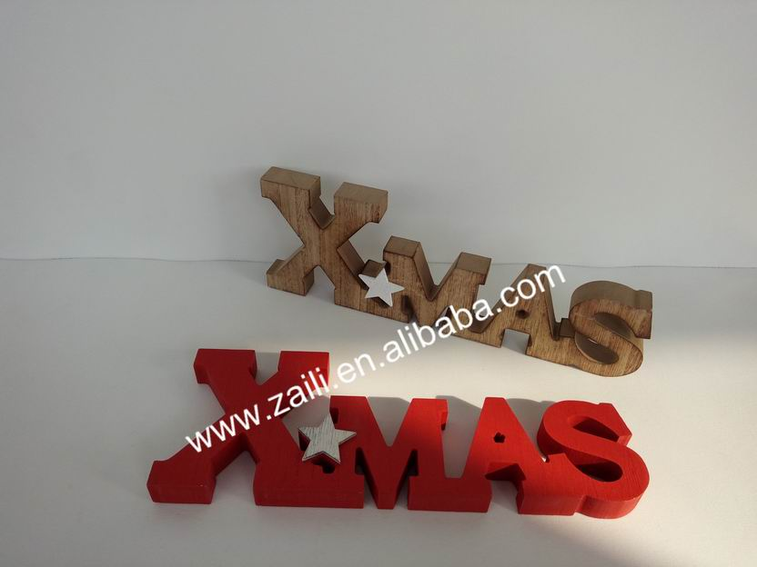 Christmas decoration Wood decorative gift XMAS letters display ornament