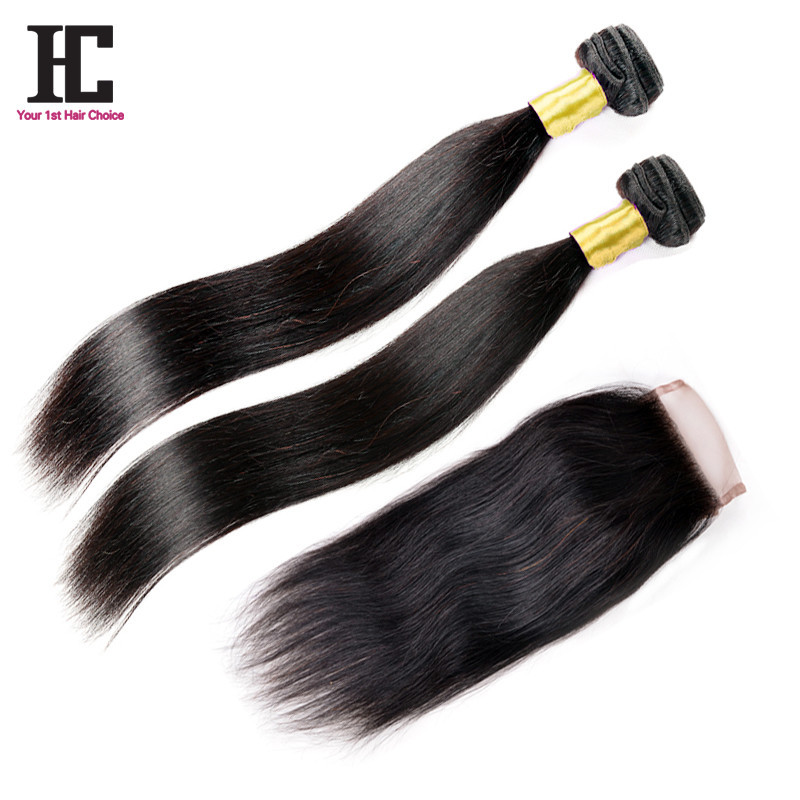 7A Virgin Brazilian Straight Hair With Closure Top 2 Bundles With Closure  Brazilian Straight Hair Bundles With Lace Closures