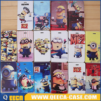 Factory wholesale design flip wallet case, despicable me 2 minion leather phone case