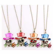 Latest Design Halloween Skull Magician Flowers Pendant 2017 Fashion Statement Rose Necklace