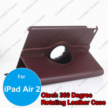 Premium Brown 360 Degree Rotating Stand Smart Cover PU Leather Cases For iPad Air 2