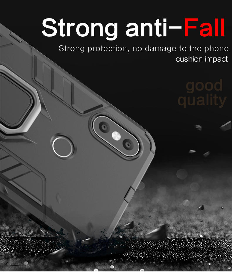 With car mount magnetic attraction tpu pc metal ring holder phone back cover case for xiaomi mi a2 6x, case for mi a2