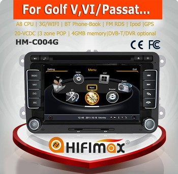 Hifimax car gps dvd for VW Passat(mk6)(2006-2011) Car DVD GPS with A8 CHIPSET DUAL CORE 1080P V-20 DISC WIFI 3G INTERNET DVR