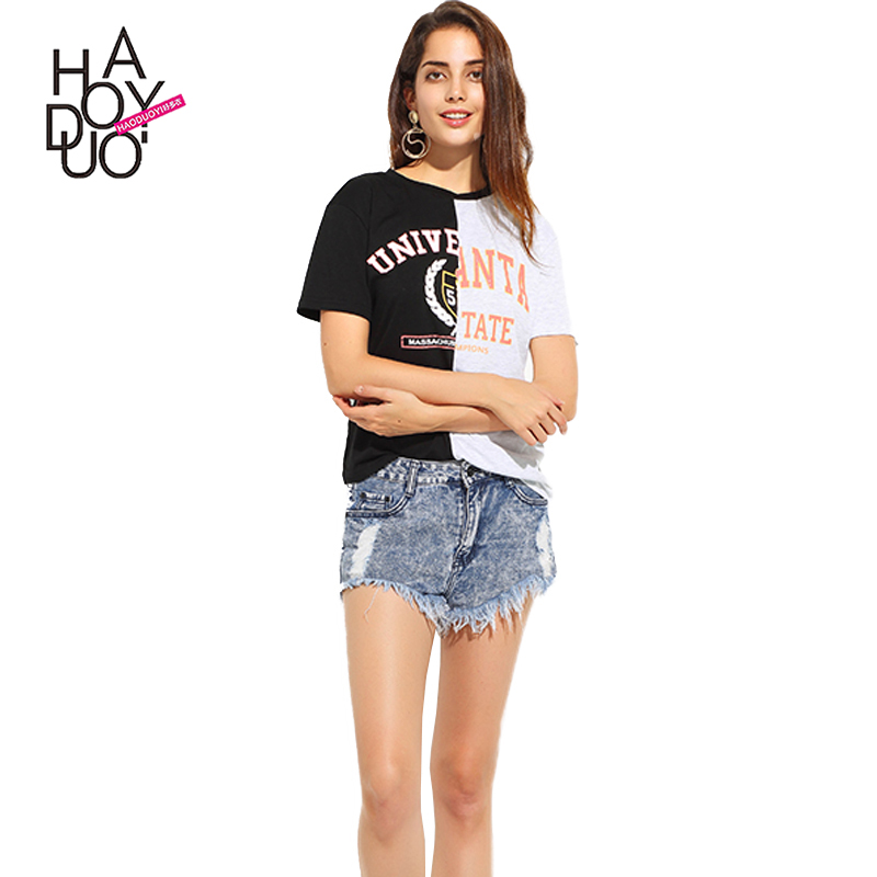 HAODUOYI Women Black Patchwork Tops Short Sleeve Female Pullover Tops Street O-neck Letter Print Casual <strong>T</strong>-<strong>shirt</strong> For Wholesale