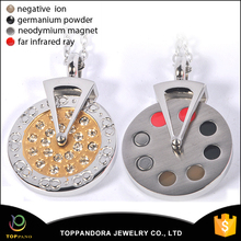 Health jewelry fashion design Rhinestone pendant stainless steel solar energy pendant bio energy pendant