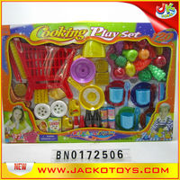 Kid Plastic Play Food Models With Small Shopping Cast