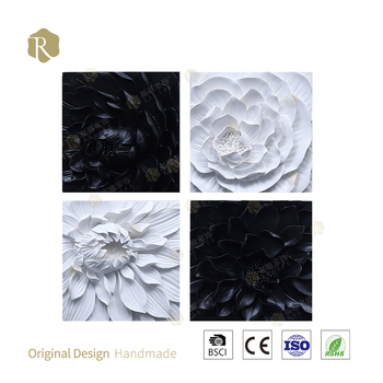 100%Modern Black and White Art Flower Handmade 3D Art Flower Painting Wall Decor Modern Art