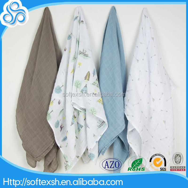 Wholesale cheap Baby soft 100% cotton organic baby blanket jersey muslin baby swaddle blanket