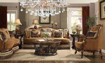 Best Price Brown Color Victorian Style Solid Wood Fabric Sofa Set/Factory Direct Sale American Living Room Furniture (MOQ=1 Set)