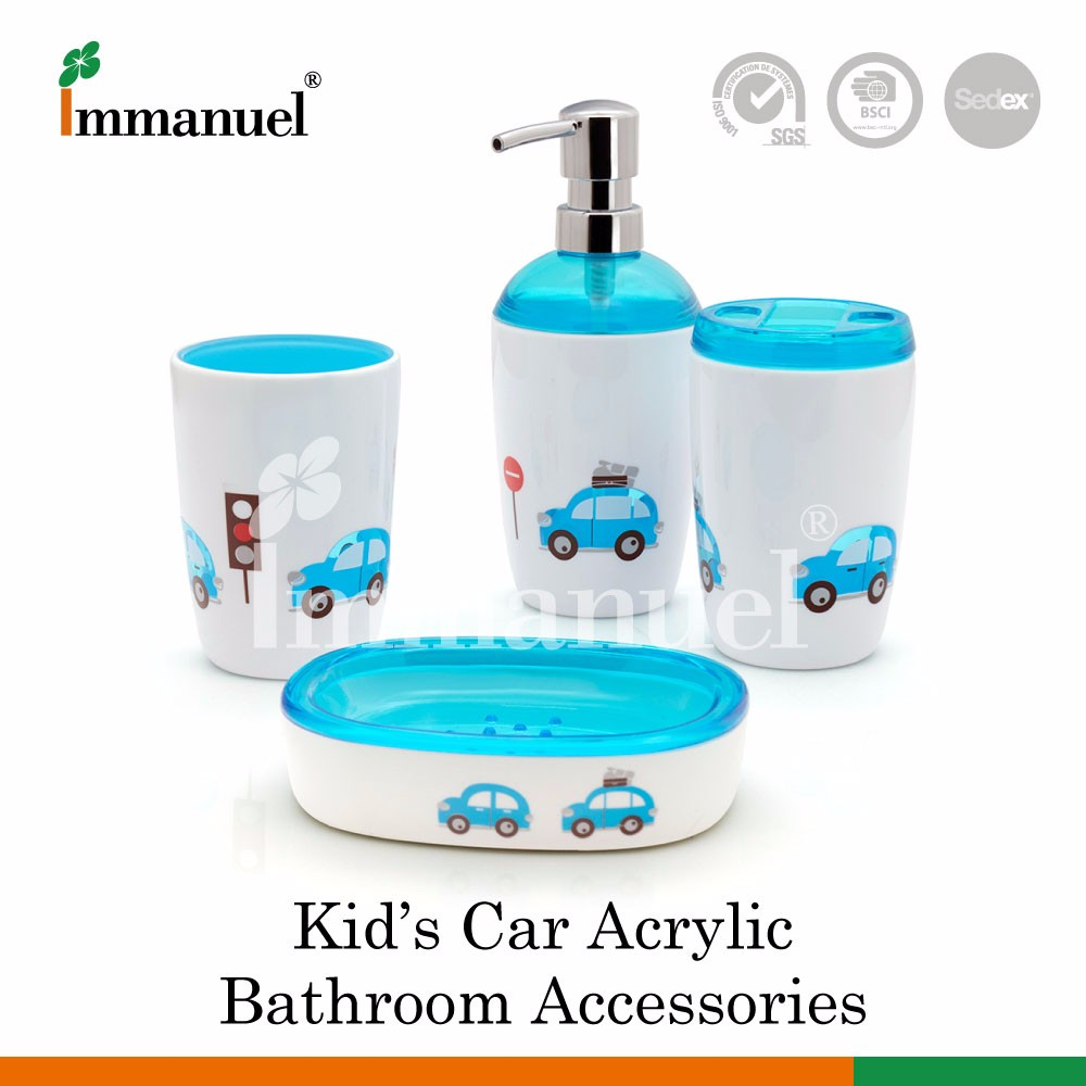 Car 4 Piece Plastic Acrylic Cute Cartoon Toothbrush Holder Bathroom Accessories Sets