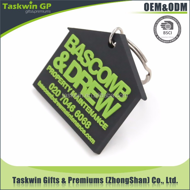 Promotional gifts custom cheap house shaped 3d soft pvc keychains