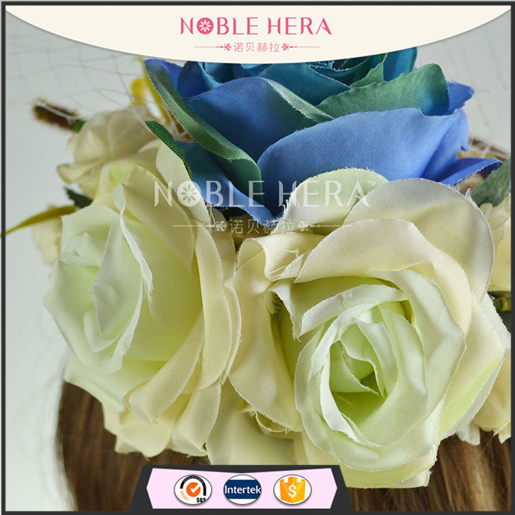 Customized flower decor hair clip wedding gauze hat for sale