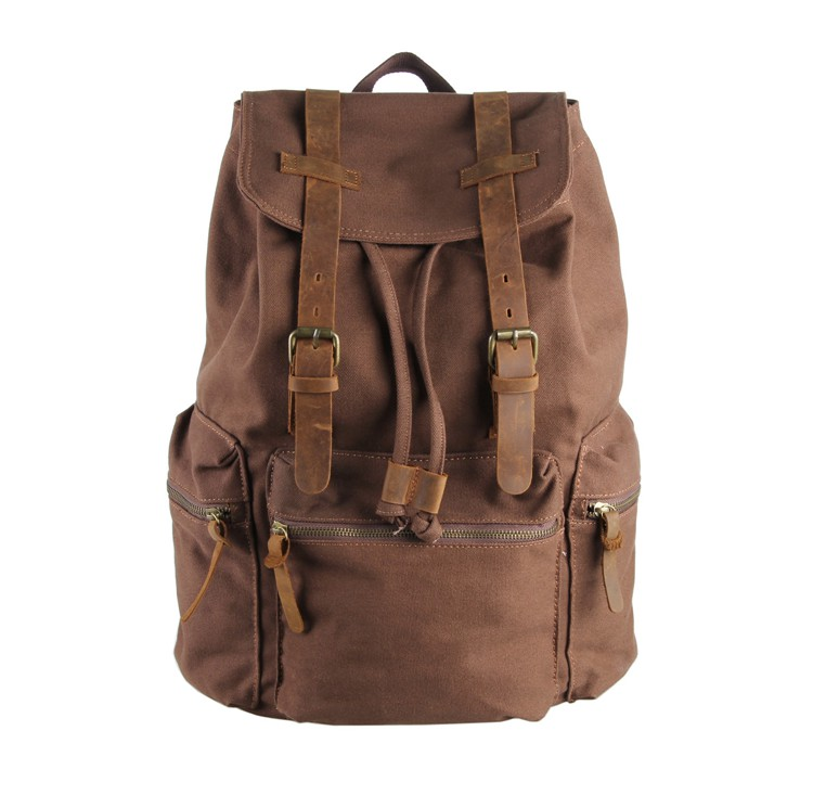 9003B J.M.D Design Brown Laptop Bag Vintage Canvas Leather Backpack For Men