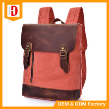 2017 Men's Laptop Backpacks Vintage Canvas+Pu Leather Outdoor Travel Bags Daily Backpack