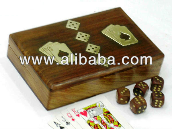Wooden Double Card Box and Dice Box