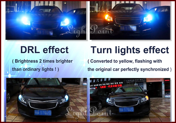 Light Point 10W 9~16V 7443 WY21W double colorT20 LED Rear lamp Brake lights Switchback Parking Lights Trunk lights