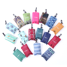 Eco-friendly Promotional reusable supermarket grocery foldable polyester shopping bag into pouch