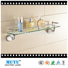 New desgin hot sale single tier bathroom glass shelf