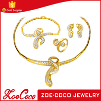 2016 New Fashion Jewelry set 18K Gold Plated Copper Alloy Crystal Bridal Jewelry Set for bride