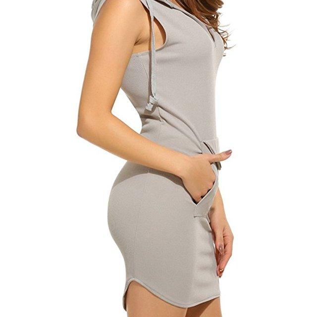 Wholesale Women Custom Summer V Neck Sleeveless Mini Dress Hoodie with Pocket