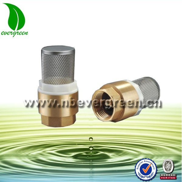 "Check Valve Size--1/2"" Dn 15 Brass Female Check Valve Foot Non Return With Filter Net Plumbing Pipe Fittings BV1005"