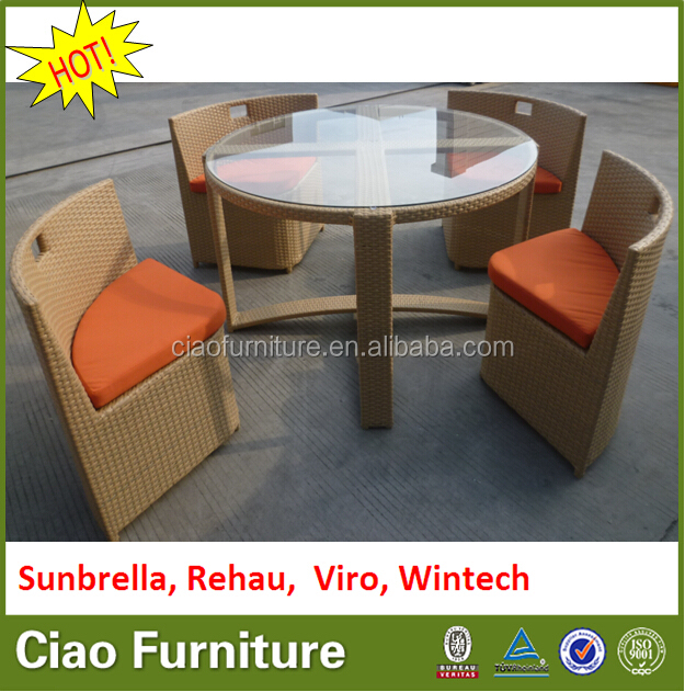 New Style garden mushroom rattan dining glass table set