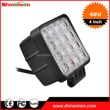 Cheapest! 10-30V DC IP67 Waterproof Square 48w led work light Square Led Work Lamps 48w 24V 48W Led Worklights