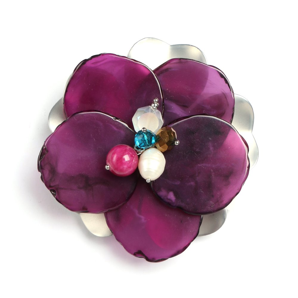 wholesale high quality hand making fashion brooch with flower shape