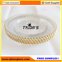Best Quality Heavy Gold Beaded Glass Charger Plates