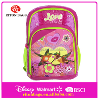 New Design School Backpack for Girl Promotional School Backpack 2016 with Lovely Bird