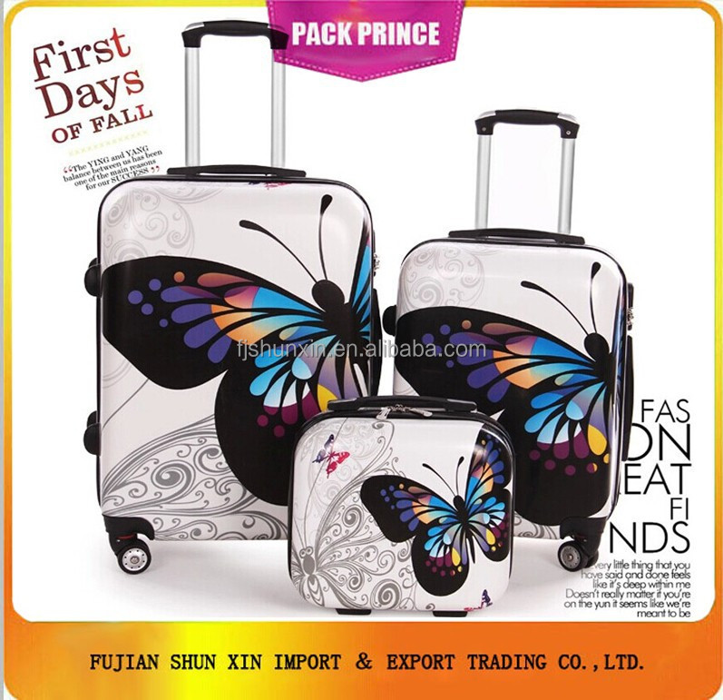 Butterfly design beautiful ABS PC luggage set alibaba china