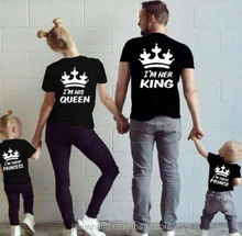 OEM custom cotton fancy printing family or couple king queen t shirts