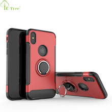 Carbon Fiber Pattern 360 Degree Rotation Phone Ring Holder Hybrid Phone Case For iPhone X With Logo Hole