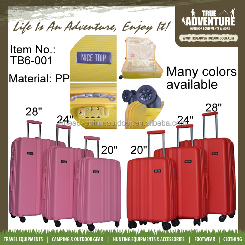 True Adenture PP Material Luggage Trolley Bag 4 Wheels Luggage Suitcase Travel Luggage Set for Wholesale
