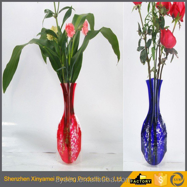 plastic manufacturer Home/office/hospital Decoration PVC foldable flower vase PVC promotional foldable flower vase