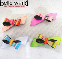 Wholesale good quality acrylic hair clips for kids with bowknot