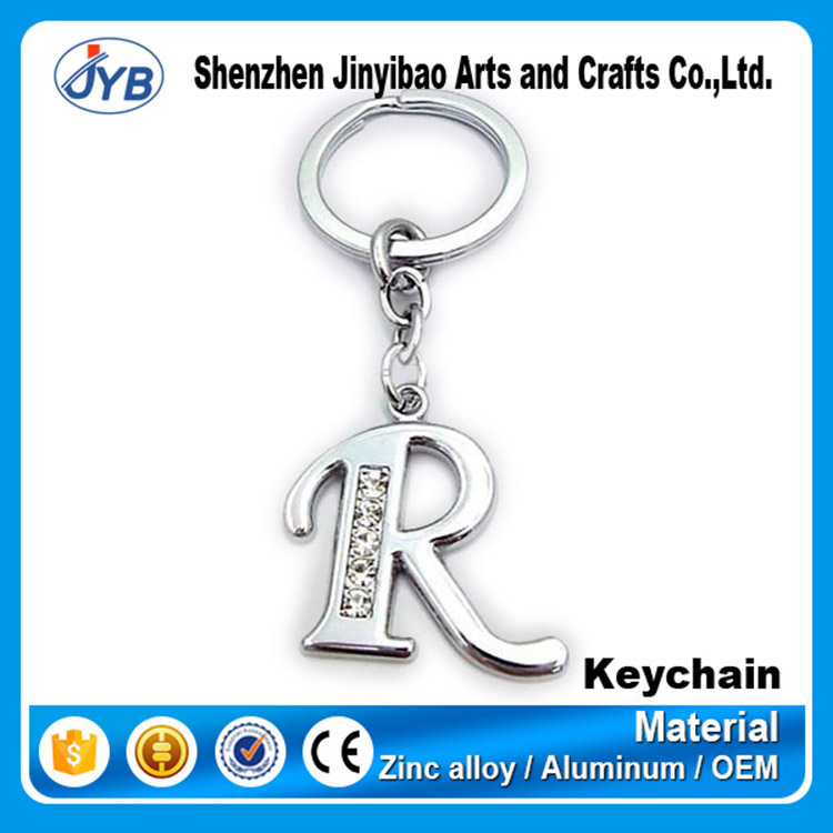 wholesale price letter metal R keyring custom alphabet shape diamond keyrings