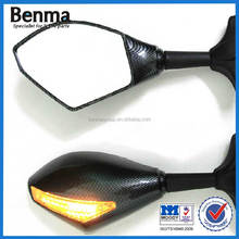 Carbon Motorcycle Turn Signal Light Mirror Rearview Mirror With LED light Motorcycle Rear Mirror With Light
