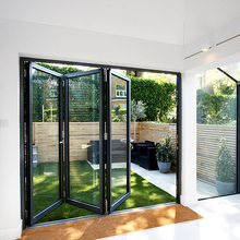 Double glazed soundproof aluminum glass bifold/folding door