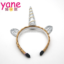 New fashion wholesale silver cute cheap unicorn headband for children