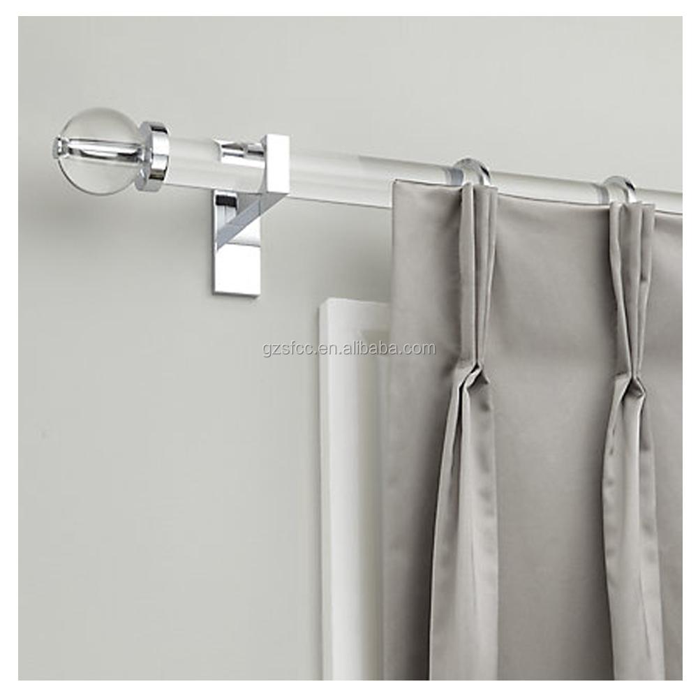 Acrylic curtain rod - Clear Plastic Acrylic Curtain Rod With Double Brackets