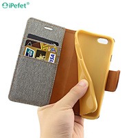 New Arrive Cowboy Cloth Leather Flip Mobile Phone Case For iPhone 6 Plus