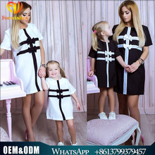 Wholesale family matching clothing mother daughter bows wedding dress short sleeve black white plaid mommy and me dress